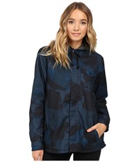 Burton Calla Long Sleeve Woven Eclipse Derby Camo Women's Long Sleeve Button Up Navy