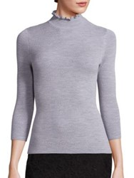 Rebecca Taylor Solid Merino Wool Sweater Black Light Heather