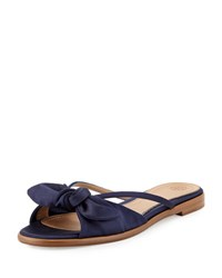The Row April Satin Bow Flat Slide Sandal Navy