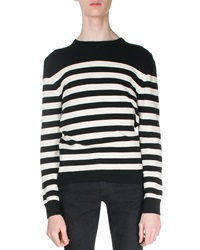 Saint Laurent Striped Cashmere Sweater Black White
