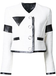 Alexander Wang Cropped Jacket With Triangle Chest Pocket White