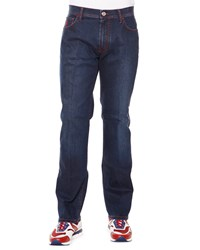 Stefano Ricci Contrast Stitch Straight Denim Jeans Rouge Palladio Blue