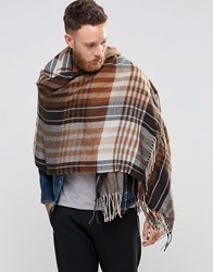 Asos Checked Blanket Scarf In Brown Brown