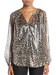 Tamara Mellon Metallic Silk Leopard Peasant Blouse Grey Leopard