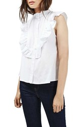 Topshop Women's Ruffle Trim Sleeveless Poplin Shirt