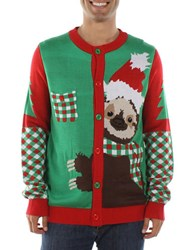 Tipsy Elves Sloth Christmas Cardigan Green