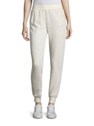 Atm Anthony Thomas Melillo Pull On Striped Sweat Pants Heather Grey Oatmeal