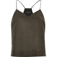 River Island Womens Dark Brown Faux Suede Cami