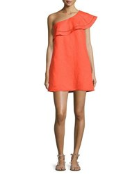 Tory Burch One Shoulder Ruffle Coverup Dress Red