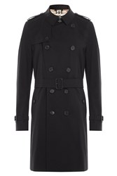 Burberry London Kensington Cotton Trench Coat Black