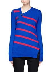 Proenza Schouler Asymmetric Button Stripe Cashmere Cotton Sweater Blue Multi Colour