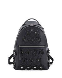 Fendi Leather Backpack W Allover Floral Appliques Black