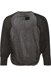 Anna Sui Metallic Open Knit Shrug Charcoal