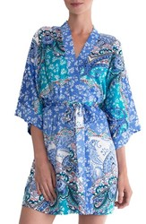 In Bloom By Jonquil Women's Print Robe Cornflower Blue Ivory