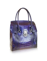 L.A.P.A. Croco Stamped Leather Flap Tote Bag Violet