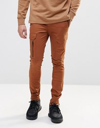 Asos Super Skinny Cargo Pants With Zip In Brown Dachshund