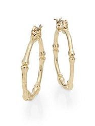 Ak Anne Klein Bamboo Hoop Earrings Goldtone