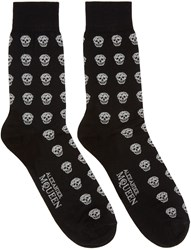Alexander Mcqueen Black And Silver Metallic Skulls Socks