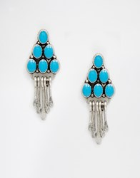 Asos Western Stone Drop Earrings Silver