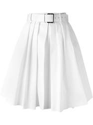 Dice Kayek Belted Pleated Skirt White