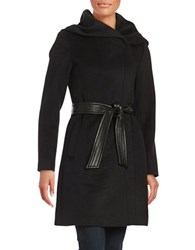 Cole Haan Signature Asymmetrical Coat With Oversized Hood Black