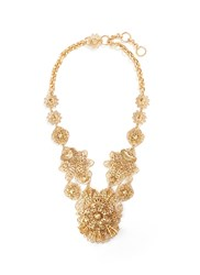 Miriam Haskell Filigree Flower Statement Necklace Metallic