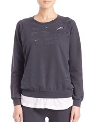 Monrow Distressed Double Layer Sweater