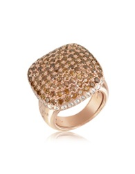 Azhar Cubic Zirconia Sterling Silver Square Cocktail Ring Rose Gold