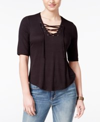 American Rag Three Quarter Sleeve Lace Up Top Only At Macy's Classic Black