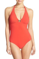Women's Tory Burch Logo Halter One Piece Swimsuit Poppy Red