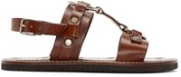 Saint Laurent Brown Leather Hardware Sandals