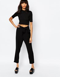 Monki Tie Waist Peg Leg Trousers Black