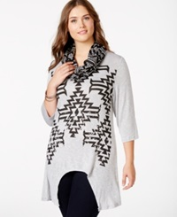 Extra Touch Plus Size Aztec Print Scarf Tunic Medium Heather Grey