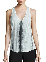 Haute Hippie Snake Skin Graphic Tank Top Ivory Black