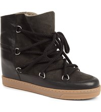 Isabel Marant Nowles Suede And Leather Shearling Lined Ankle Boots Black