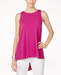 Vince Camuto Pleated Back High Low Blouse Plum Tart