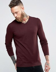 Jack And Jones Premium V Neck Jumper Sassafras Red