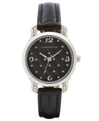 Charter Club Women's Black Leather Strap Watch 28Mm Only At Macy's Silver