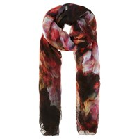 Karen Millen Blurred Floral Print Scarf Orange Multi