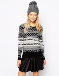 Esprit Fairisle Jumper Black