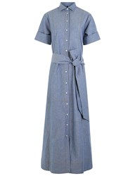 Lisa Marie Fernandez Blue Denim Chambray Shirt Dress