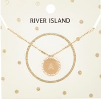 River Island Womens Gold Tone A Initial Necklace