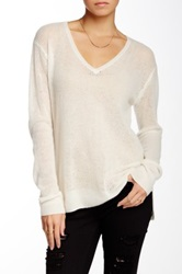 Velvet By Graham And Spencer Honeycomb Knit V Neck Cashmere Sweater White