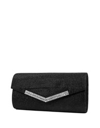 Jessica Mcclintock Ashley Lurex Rhinestone Flap Convertible Clutch Black