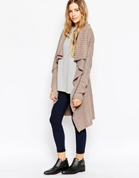 Brave Soul Ribbed Chunky Open Knit Cardigan Mushroommarl