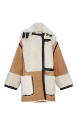 Veronique Branquinho Lamb Shearling Oversized Coat Brown