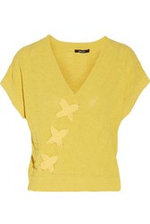 Raoul Lace Up Textured Cotton Blend Sweater Yellow