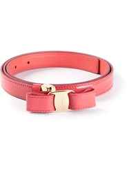 Salvatore Ferragamo Bow Belt Pink And Purple