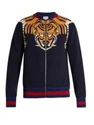 Gucci Tiger Knit Zip Through Wool Bomber Jacket Blue Multi