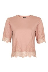 Topshop Petite Lace Petal Top Blush